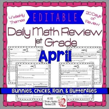 Math Morning Work 1st Grade April Editable