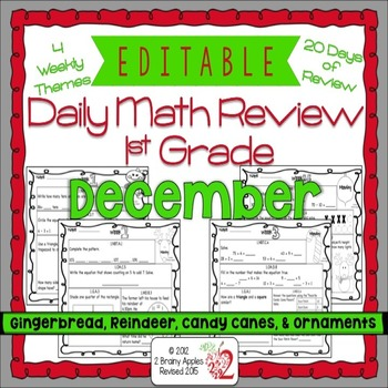 Math Morning Work 1st Grade December Editable