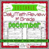 Math Morning Work 1st Grade December Editable, Spiral Revi