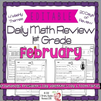 Math Morning Work 1st Grade February Editable