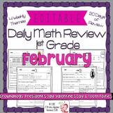 Math Morning Work 1st Grade February Editable, Spiral Revi