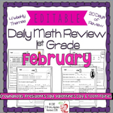 Math Morning Work 1st Grade February Editable, Spiral Revi