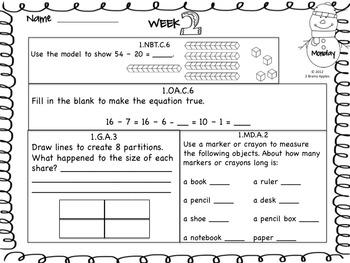 Math Morning Work 1st Grade January Editable