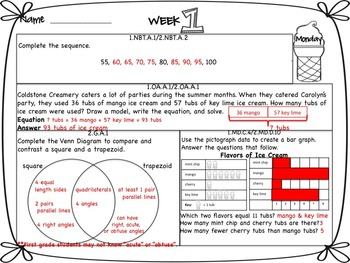 Math Morning Work 1st Grade June Editable