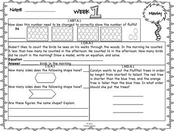 Math Morning Work 1st Grade March Editable
