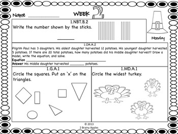 Math Morning Work 1st Grade November Editable