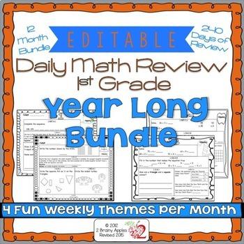 Math Morning Work 1st Grade Bundle Editable