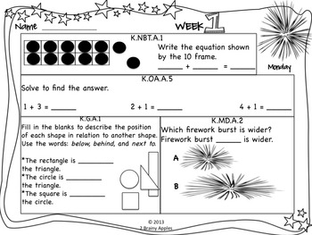 Math Morning Work 1st Grade July Editable
