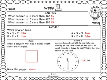 Math Morning Work 1st Grade October Editable