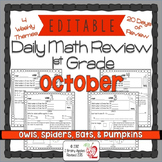 Math Morning Work 1st Grade October Editable