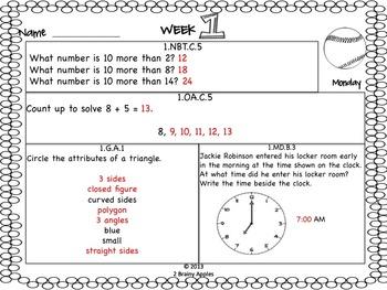 Math Morning Work 1st Grade September Editable