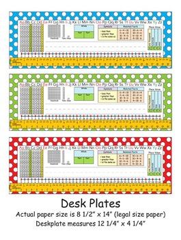 1st Grade Common Core Desk Plates Dots