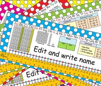 1st Grade Common Core Desk Plates Dots Editable