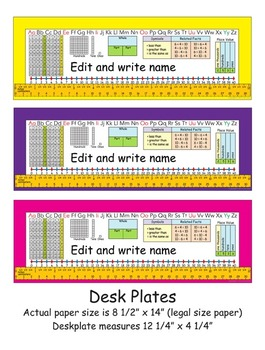 1st Grade Common Core Desk Plates Six Colors Editable