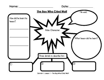 1st Grade Common Core Domain 1 Fables Activity Worksheets