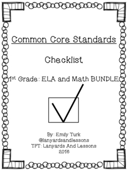 1st Grade Common Core: ELA and Math BUNDLE Checklist