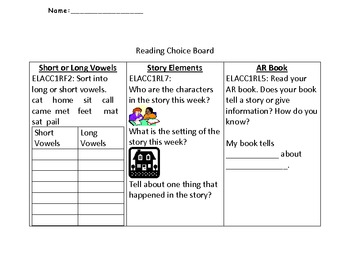 1st Grade Common Core ELA Choice Boards use with any story