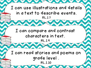 1st Grade Common Core ELA I Can Statement Cards_Waves