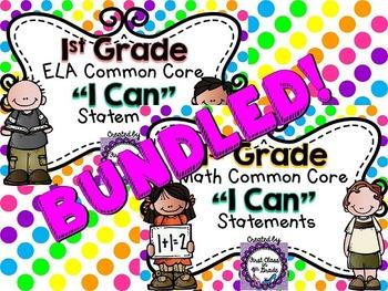"1st Grade Common Core ELA & Math ""I Can"" Statements (Polka Dot)"