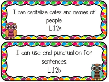 "1st Grade Common Core ELA & Math ""I Can"" Statements - Rainbows & Owls Theme"