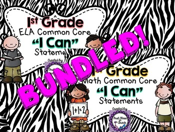 "1st Grade Common Core ELA & Math ""I Can"" Statements (Zebra)"