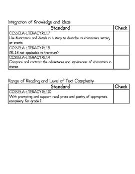 1st Grade Common Core ELA & Math Standards Checklist