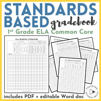  1st Grade ELA  English Language Arts Common Core Checklist or Gradebook
