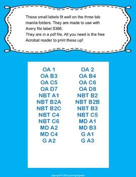 1st Grade File Labels, 1st Grade Learning Targets, File Folder Labels
