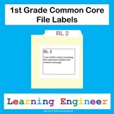1st Grade File Labels, Common Core ELA and Math