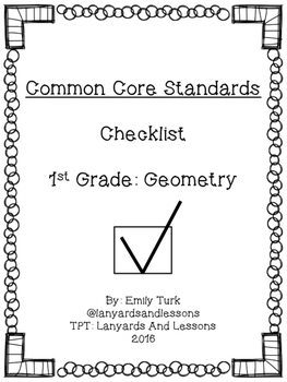 1st Grade Common Core: Geometry Checklist