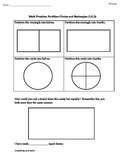 1st Grade Common Core Geometry Worksheet: Partition Rectangles and Circles 1.G.3