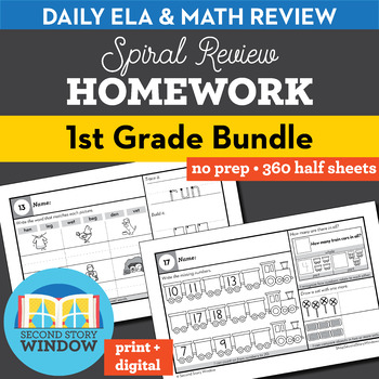 1st Grade Homework • Spiral Review Math and ELA Homework 1st