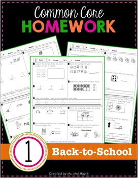 1st Grade Homework: Back-to-School