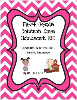 1st Grade Common Core Homework Kit {2nd Semester}
