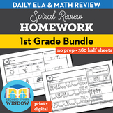 1st Grade Homework • Math & ELA Spiral Review Distance Lea