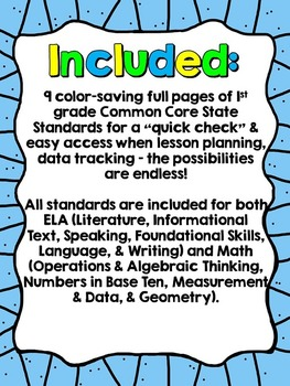 """1st Grade Common Core """"I Can"""" Checklist (Ink Saver)"""