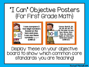"""1st Grade Common Core """"I Can"""" Posters- BUNDLE- Reading, Writing, & Math"""