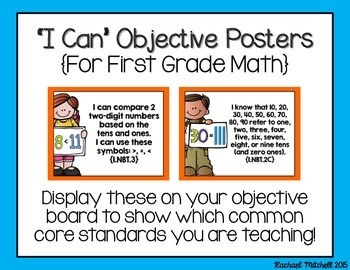 """1st Grade Common Core """"I Can"""" Posters for Math"""