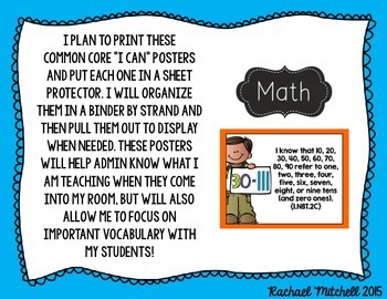 """1st Grade Common Core """"I Can"""" Posters for Reading and Writing Standards"""