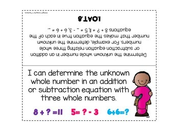 """1st Grade Common Core """"I Can"""" Standards Posters {MATH ONLY}"""