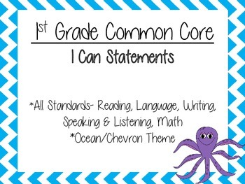 1st Grade Common Core I Can Statements- ALL Standards- Ocean Theme