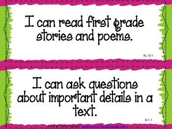 "1st Grade Common Core ""I Can"" Statements for ELA"