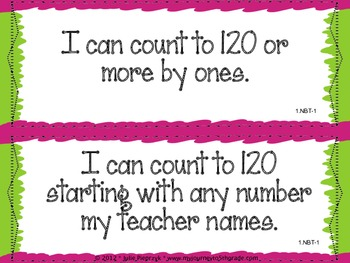 """1st Grade Common Core """"I Can"""" Statements for Mathematics"""