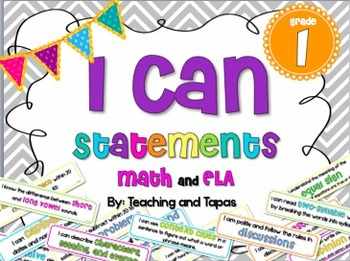 """1st Grade Common Core """"I Can"""" Statements in kid friendly language"""