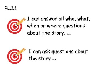 """1st Grade Common Core """"I can"""" Learning Targets for Reading"""