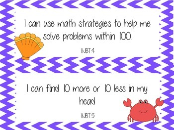 1st Grade Common Core I Can Statements- Math-Ocean Theme