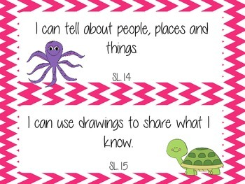 1st Grade Common Core I Can Statements- Speaking and Listening- Ocean Theme