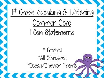 1st Grade Common Core I Can Statements- Speaking and Liste