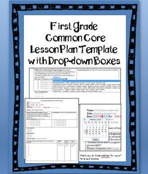 1st Grade Common Core Lesson Plan Template with Drop-down Boxes
