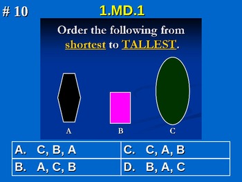 1st Grade Common Core Math 1 MD.1 Order three objects by length. 1.MD.1
